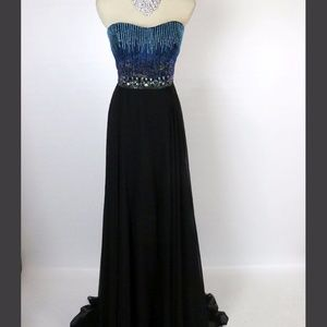 NEW Tony Bowls Beaded Black/Blue Formal Gown Dress